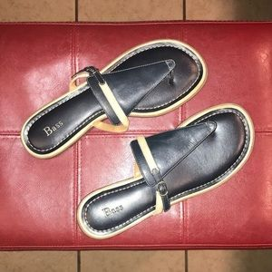 Navy leather Bass sandals